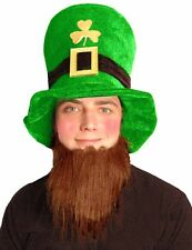 Men St. Patrick Velvet Leprechaun Hat with Beard