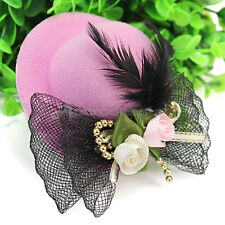 Fashion Women Lady Pink Mini Top Hat Feather Bowtie Fascinator Hair Clip Hot