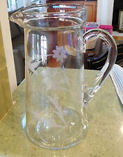 "Large 9.5"" Wheel CUT CRYSTAL PITCHER Clear with Etched Floral Design Lg Vintage"