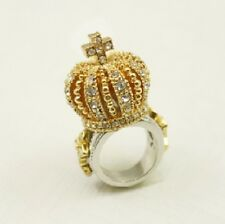 R187 Betsey Johnson King Queen Princess Royal Crown with Color Crystal Ring US