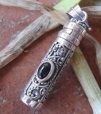 925 Sterling Silver-PL67-Black Onyx In Balinese Perfume Bottle/Oil Pendant