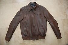 Dark Brown Soft TOMMY HILFIGER Zip Front Lined Leather Jacket Man's Small