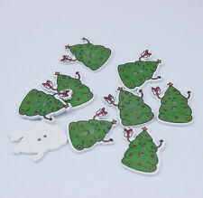 Green Cartoon Christmas Tree 2 Holes Wooden Buttons Sewing Scrapbooking Card 20