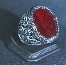 BEAUTIFUL! TURKISH HANDMADE RUBY STERLING SILVER 925K MEN'S RING SIZE 12