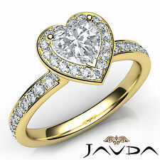 Heart Cut Halo Pave Set Diamond Engagement Ring GIA H VS1 18k Yellow Gold 0.95Ct