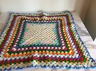 Vintage Hand Crochet giant Granny Square Afghan Throw Lap Blanket