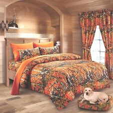 7 PC ORANGE CAMO KING SET!!! COMFORTER SHEETS WESTERN CAMOUFLAGE MICROFIBER