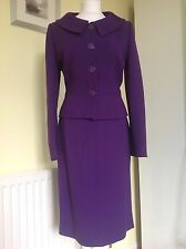 Hobbs 'RUBENS' Purple Skirt Suit UK 12 Wool Blend