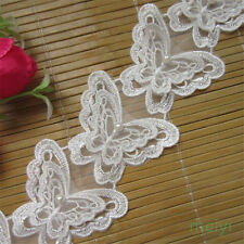 5pcs Butterfly Pearl Lace Trim Wedding Bridal Ribbon Applique DIY Sewing Craft