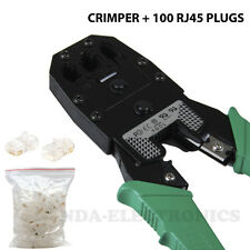 Crimp Crimper  With 100 RJ45 CAT5 CAT5e UTP Connector Plug Network Tool Kit