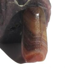 RARE STUNNING ANCIENT BANDED CARNELIAN AGATE EYE MALI BEAD 10mm x 23mm