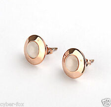 Rose Gold GP Big Round Opal Cat Eyes Women's Stainless Steel Earrings Jewelry
