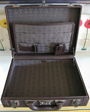 Vintage Gucci Brown Leather Hard Briefcase w/Green Lining & Silvertone Hardware