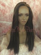 100% Human Hair Blend Yaki Straight 4x4 Silk Lace Closure Wig W/ Baby Hairs