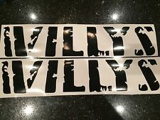 X2 Jeep Willy's Hood Vinyl Decals COLORS Wrangler JK TJ YJ Sahara Sport 4x4