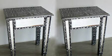 PAIR Silver Embossed Mirrored Lamp Table Bedside Bedroom Stool French Vintage