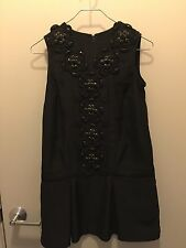KARTA Black Sleeveless Crew Neck Beaded Detail Dress Sz XS
