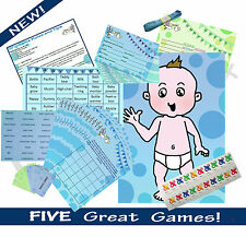 BLUE/BOY BABY SHOWER 20 PLAYER 5 GAME MULTI-PACK (Predictions, Bingo...) RRP £18