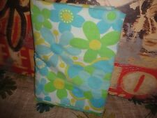 VINTAGE SEARS ROEBUCK BLUE RETRO FLOWER POWER TWIN/TWIN XL FLAT SHEET 64 X 94