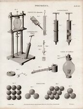 1819 GEORGIAN PRINT ~ PNEUMATICS FREEZING APPARATUS CONDENSERS