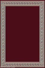 "4x6  Rug Modern Greek Key Design Solid Burgundy with Bordered  New  3'10""x5'1""ft"