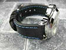 New BIG CROCO 20mm Black LEATHER STRAP Blue Stitch watch Band OMEGA Seamaster