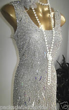 MONSOON NUDE SILVER SEQUIN SPARKLE FLAPPER GATSBY 20's DECO BODYCON DRESS 18