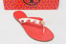 TORY BURCH THORA FABRIC PRIN CRESPI LEATHER THONG FLIPS FLAT SANDALS SHOES 10