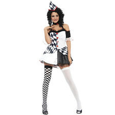 HARLEQUIN FEMALE CLOWN ADULT ONE SIZE COSTUME HALLOWEEN FANCY DRESS