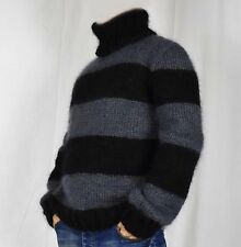 Hand Knitted  WOOL  MOHAIR Pullover Men Sweater Turtleneck SOFT fuzzy Jumper