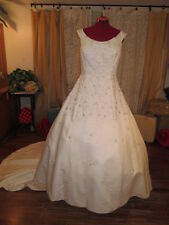 Mori Lee Heavily Beaded Cap Sleeve Formal Wedding Dress Plus SZ-western satin