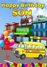 Kids Party bus balloons fun Greeting Birthday Card Son any age