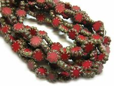 9mm Dark Red Picasso Czech Flat Daisy Flower Beads (10) #1185