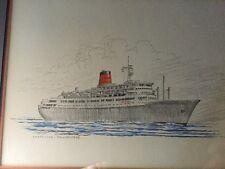 3 SAGAFJORD & VISTAFJORD Vintage Original Sketch's signed Blumenthal CUNARD SHIP