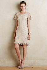 NWT ANTHROPOLOGIE Leather Stripe Shift Dress Size S $198 Beige by Bailey 44 Lace