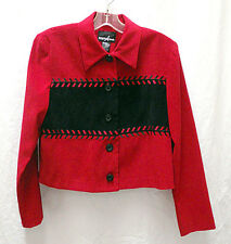 Women's Positive Attitude Faux Suede Cropped Jacket Red and Black Size 6