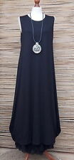 LAGENLOOK AMAZING BEAUTIFUL STRETCHY BALLOON MAXI DRESS*BLACK*Size 46-48-50""