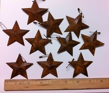 "DLCC~10 PCS PRIMITIVE RUSTIC 2.25"" metal tin barn star with safety pin  rust"
