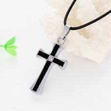 New Gift Unisex's Black Stainless Steel Silver Cross Pendant Mens Necklace Link