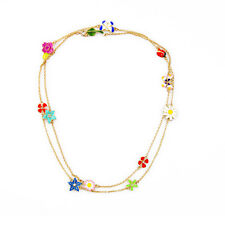 Exquiste J CREW Spring Flower Ladybug Butterfly Enamel Necklace