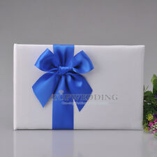 White Bridal Wedding Party Guest Book with Royal Blue Bowknot Sign in Guestbook