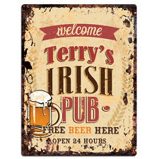PMBP0057 TERRY'S IRISH PUB Rustic tin Sign PUB Bar Man cave Decor Gift