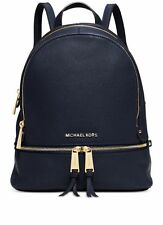 NWT! MICHAEL KORS Jet Set Travel Rhea Small Backpack Leather Bag Navy