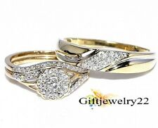 0.95 Ct.  His/Her Trio Ring Set 14K Yellow Gold Over Wedding Set 925 Silver