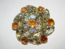 "Vintage Gold Metal Sparkly Aurora Borealis Amber Pronged Stones Brooch Pin 2"""
