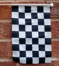 "BLACK AND & WHITE CHECKERED HAND WAVING FLAG  9"" X 6"" wooden pole MOTOR SPORT"