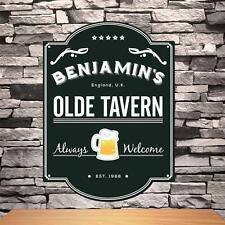 Personalized Olde English Tavern Sign Custom Name Wood Pub Sign Home Bar Decor