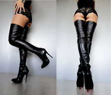CQ COUTURE NEW OVERKNEE BOOTS STIEFEL STIVALI STRETCH REAL LEATHER BLACK NERO 37