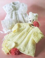 KNITTING PATTERN 3 & 4 PLY BABY  MATINEE JACKET BONNET MITTENS 16-20""