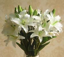 Artificial 6-Head Silk Flowers Lily Plant for Home Table Decoration White